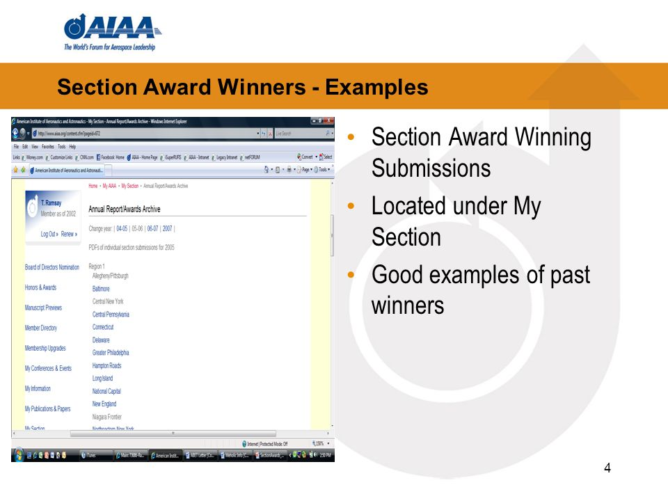 4 Section Award Winners - Examples Section Award Winning Submissions Located under My Section Good examples of past winners