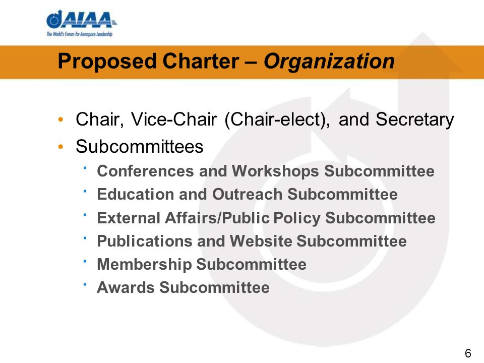 6 Proposed Charter – Organization Chair, Vice-Chair (Chair-elect), and Secretary Subcommittees · Conferences and Workshops Subcommittee · Education and Outreach Subcommittee · External Affairs/Public Policy Subcommittee · Publications and Website Subcommittee · Membership Subcommittee · Awards Subcommittee