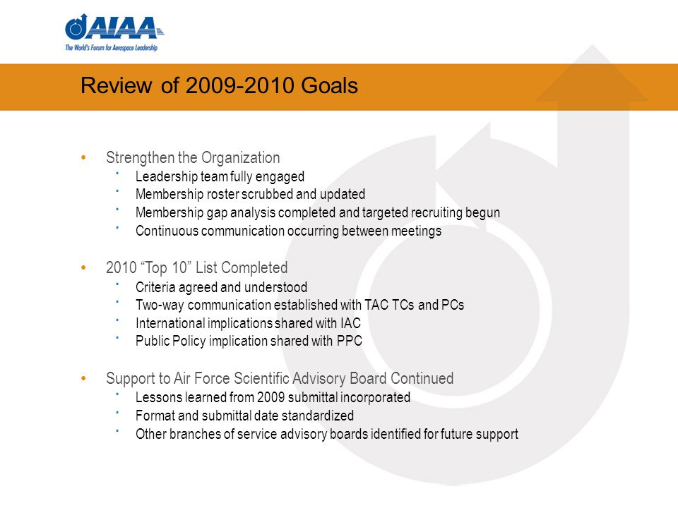 Review of 2009-2010 Goals Strengthen the Organization · Leadership team fully engaged · Membership roster scrubbed and updated · Membership gap analysis completed and targeted recruiting begun · Continuous communication occurring between meetings 2010 Top 10 List Completed · Criteria agreed and understood · Two-way communication established with TAC TCs and PCs · International implications shared with IAC · Public Policy implication shared with PPC Support to Air Force Scientific Advisory Board Continued · Lessons learned from 2009 submittal incorporated · Format and submittal date standardized · Other branches of service advisory boards identified for future support