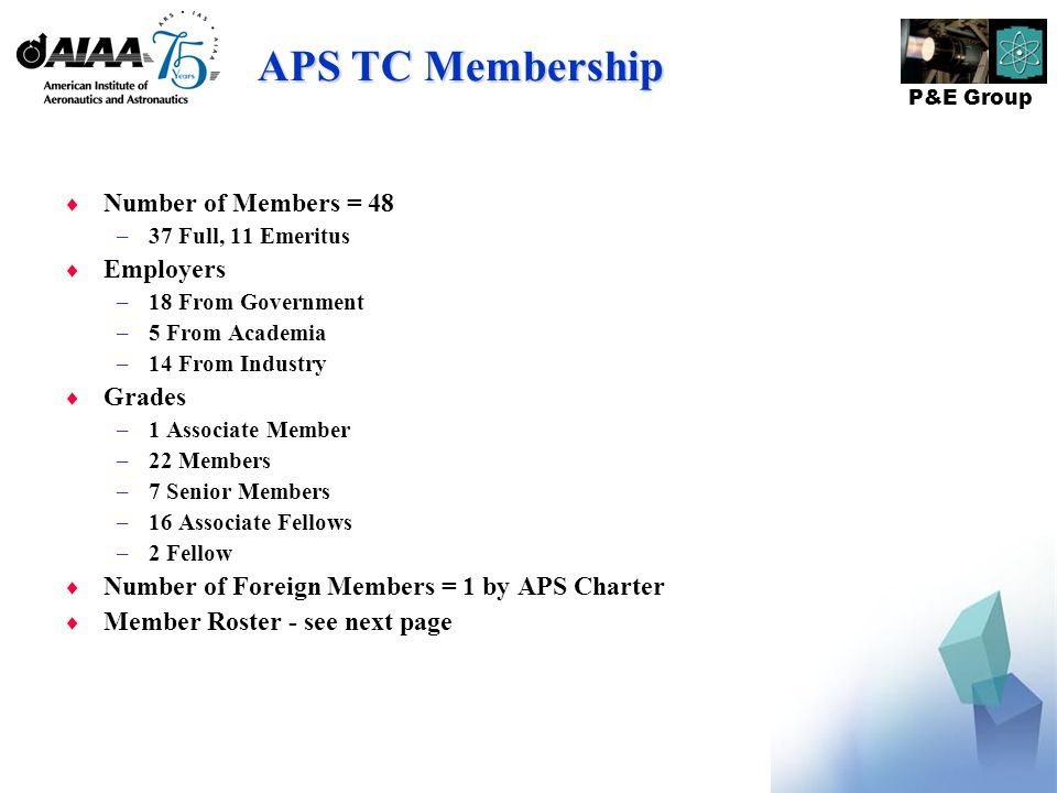 P&E Group APS TC Membership Number of Members = 48 –37 Full, 11 Emeritus Employers –18 From Government –5 From Academia –14 From Industry Grades –1 Associate Member –22 Members –7 Senior Members –16 Associate Fellows –2 Fellow Number of Foreign Members = 1 by APS Charter Member Roster - see next page