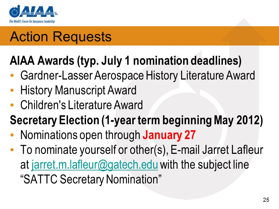 Action Requests AIAA Awards (typ.