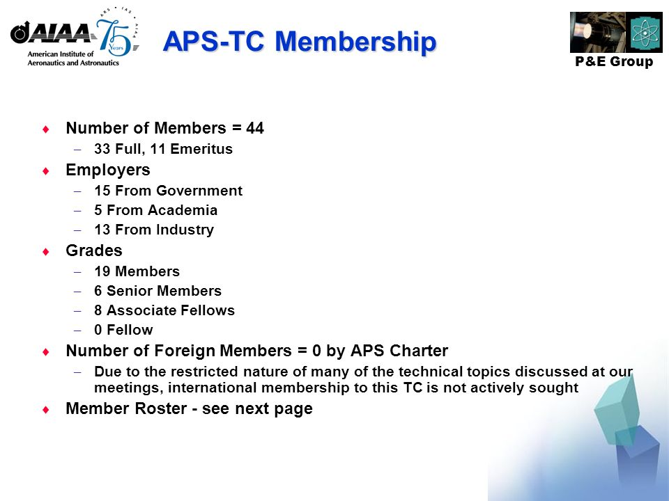 P&E Group APS-TC Membership Number of Members = 44 – 33 Full, 11 Emeritus Employers – 15 From Government – 5 From Academia – 13 From Industry Grades – 19 Members – 6 Senior Members – 8 Associate Fellows – 0 Fellow Number of Foreign Members = 0 by APS Charter – Due to the restricted nature of many of the technical topics discussed at our meetings, international membership to this TC is not actively sought Member Roster - see next page
