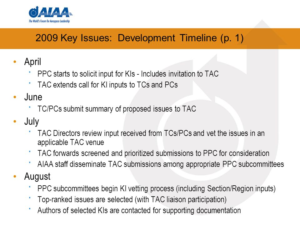 2009 Key Issues: Development Timeline (p.