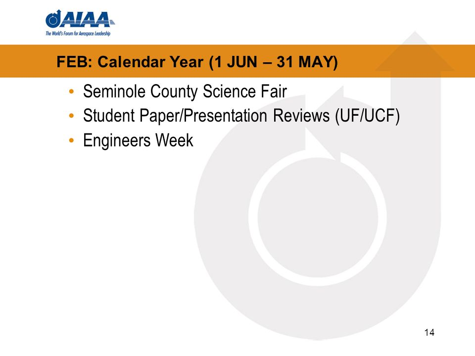 14 FEB: Calendar Year (1 JUN – 31 MAY) Seminole County Science Fair Student Paper/Presentation Reviews (UF/UCF) Engineers Week