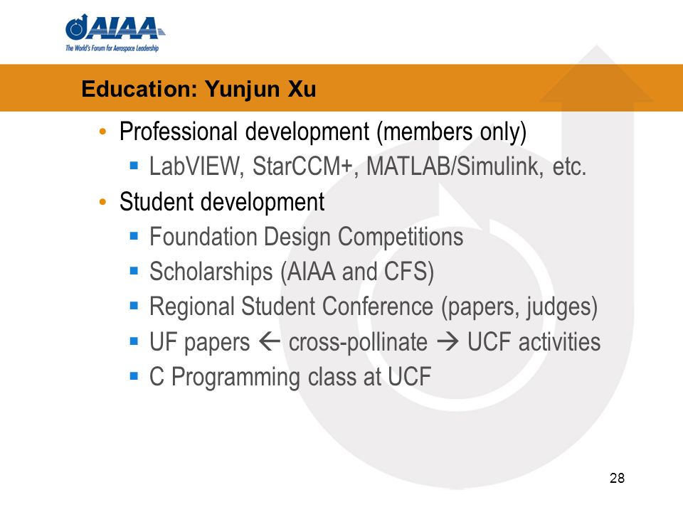 28 Education: Yunjun Xu Professional development (members only) LabVIEW, StarCCM+, MATLAB/Simulink, etc.