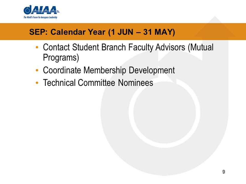 9 SEP: Calendar Year (1 JUN – 31 MAY) Contact Student Branch Faculty Advisors (Mutual Programs) Coordinate Membership Development Technical Committee Nominees