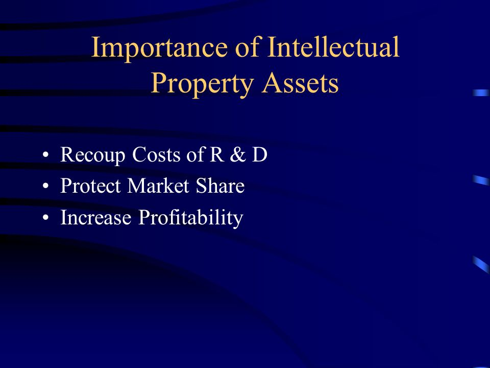 Importance of Intellectual Property Assets Internet = rapid spread of information Modern Manufacturing = minimal time to market Software as a product = no marginal costs
