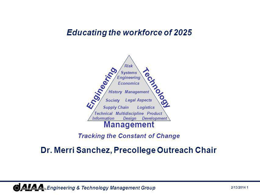 2/13/2014 1 Engineering & Technology Management Group Educating the workforce of 2025 Dr.
