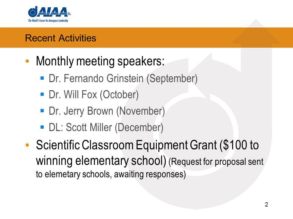 Recent Activities Monthly meeting speakers: Dr. Fernando Grinstein (September) Dr.