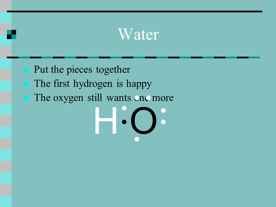 Water Put the pieces together The first hydrogen is happy The oxygen still wants one more H O