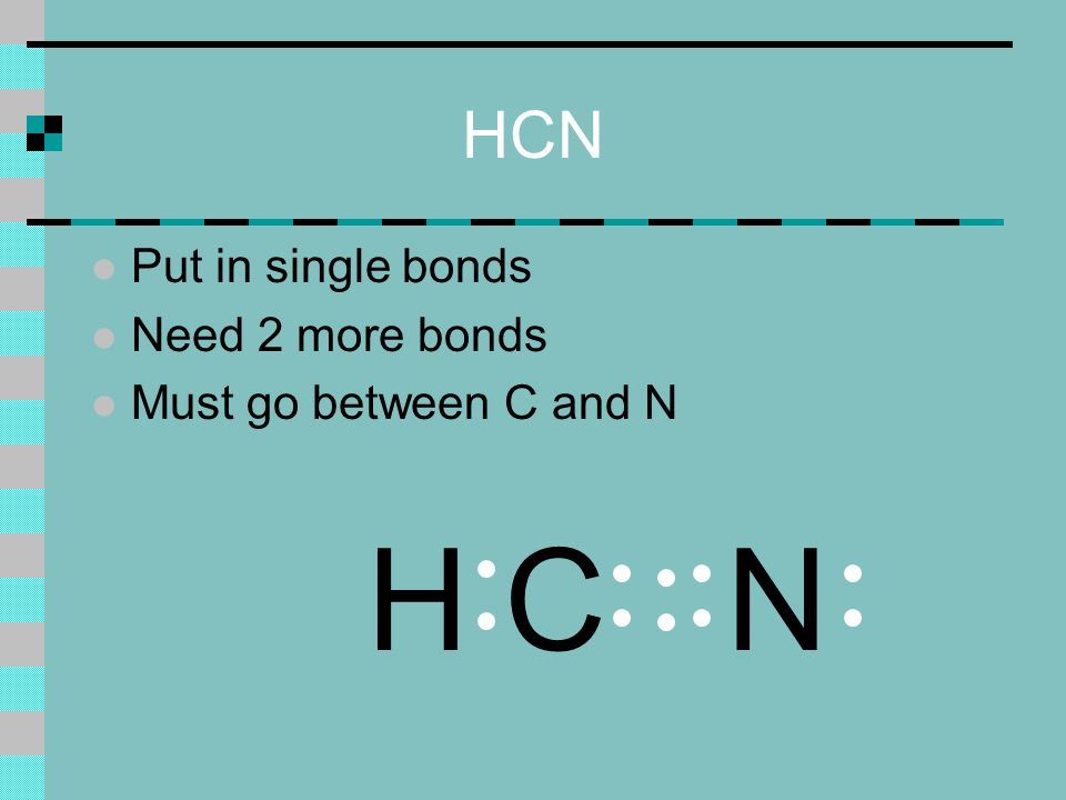 HCN l Put in single bonds l Need 2 more bonds l Must go between C and N NHC