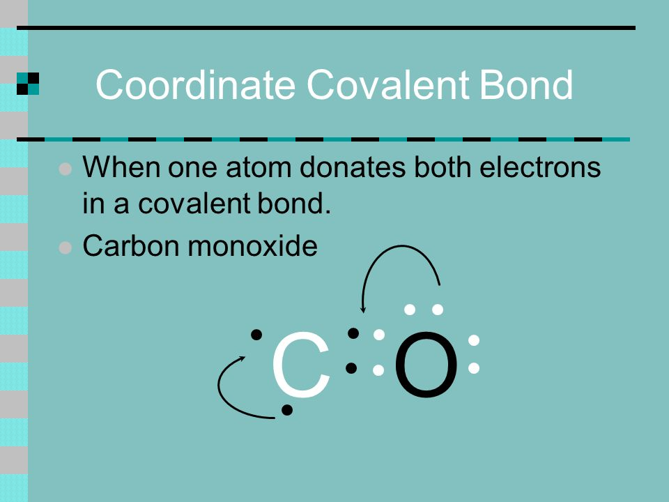 Coordinate Covalent Bond l When one atom donates both electrons in a covalent bond.