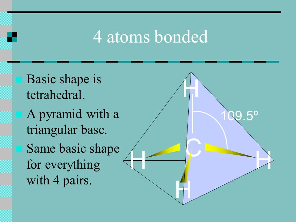 4 atoms bonded Basic shape is tetrahedral. A pyramid with a triangular base.