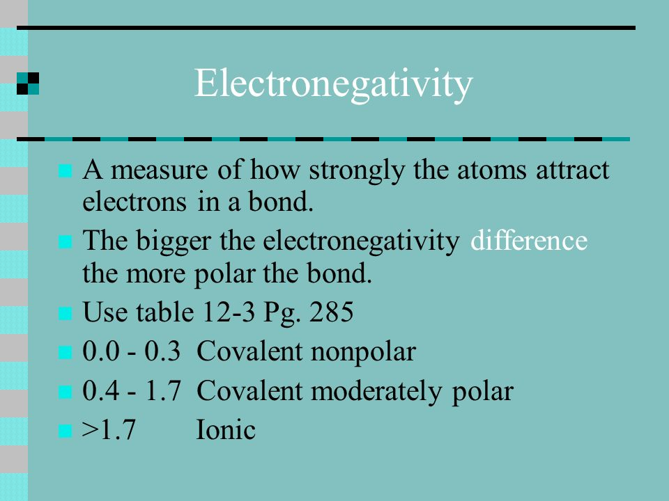 Electronegativity A measure of how strongly the atoms attract electrons in a bond.