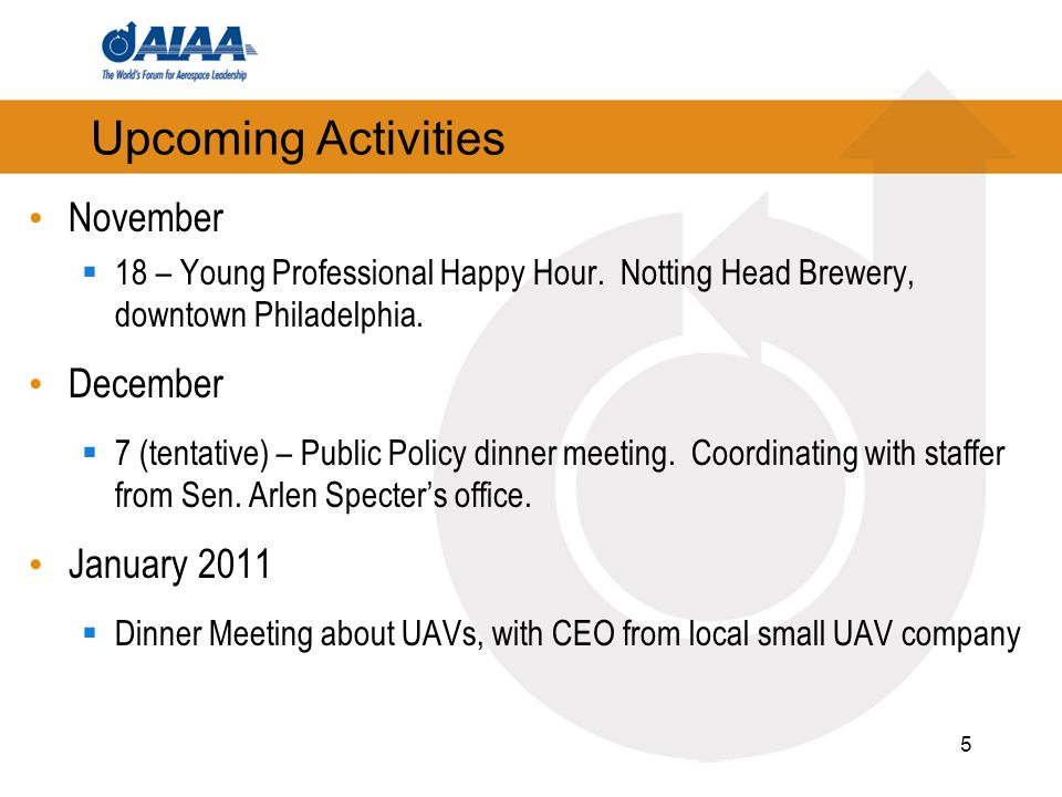 5 Upcoming Activities November 18 – Young Professional Happy Hour.