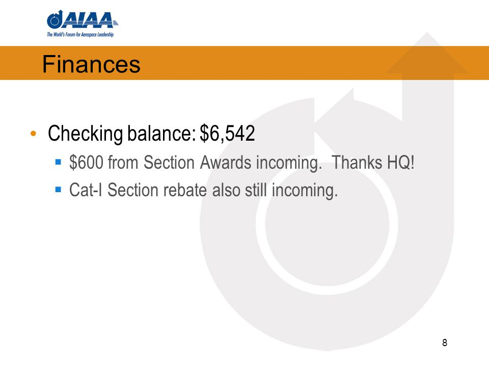 8 Finances Checking balance: $6,542 $600 from Section Awards incoming.