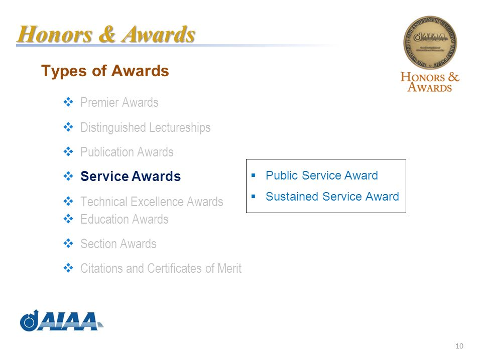 10 Types of Awards Premier Awards Distinguished Lectureships Publication Awards Service Awards Technical Excellence Awards Education Awards Section Awards Citations and Certificates of Merit Honors & Awards Public Service Award Sustained Service Award