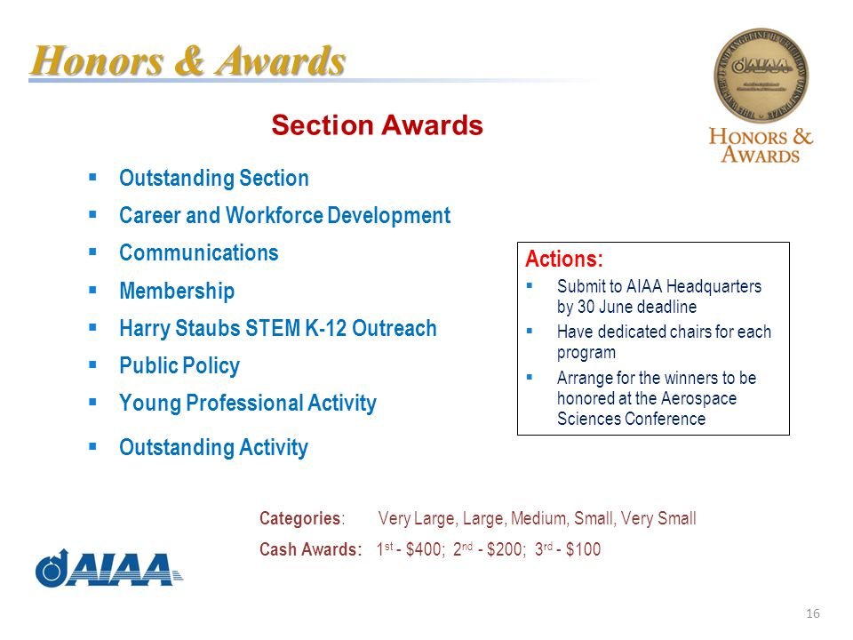 16 Section Awards Outstanding Section Career and Workforce Development Communications Membership Harry Staubs STEM K-12 Outreach Public Policy Young Professional Activity Outstanding Activity Categories : Very Large, Large, Medium, Small, Very Small Cash Awards: 1 st - $400; 2 nd - $200; 3 rd - $100 Honors & Awards Actions: Submit to AIAA Headquarters by 30 June deadline Have dedicated chairs for each program Arrange for the winners to be honored at the Aerospace Sciences Conference