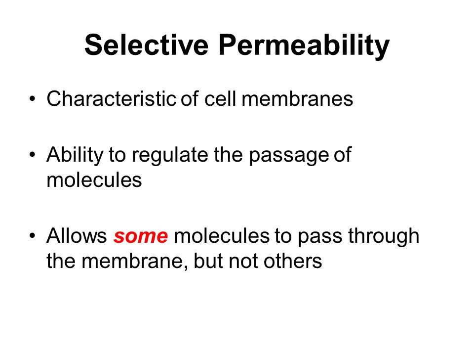 Selective Permeability Characteristic of cell membranes Ability to regulate the passage of molecules Allows some molecules to pass through the membrane, but not others
