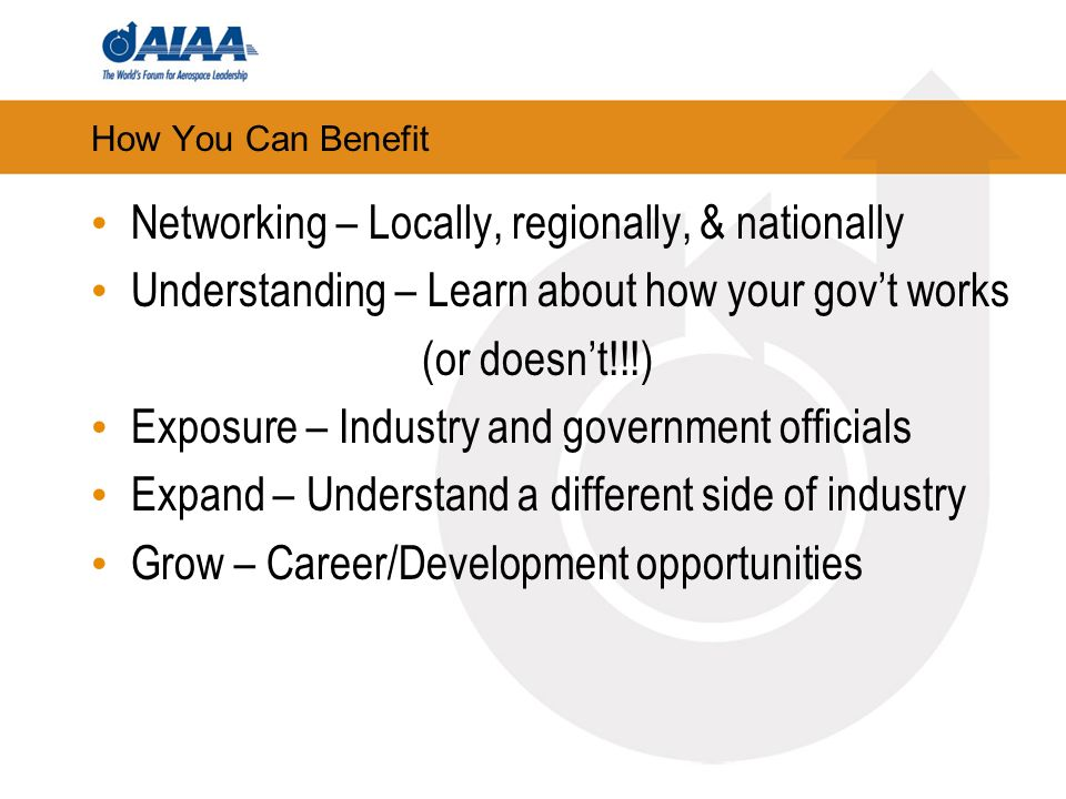 How You Can Benefit Networking – Locally, regionally, & nationally Understanding – Learn about how your govt works (or doesnt!!!) Exposure – Industry and government officials Expand – Understand a different side of industry Grow – Career/Development opportunities