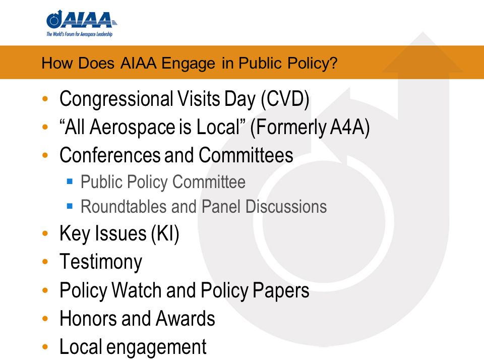 How Does AIAA Engage in Public Policy.