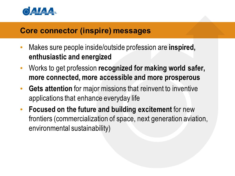 Core connector (inspire) messages Makes sure people inside/outside profession are inspired, enthusiastic and energized Works to get profession recognized for making world safer, more connected, more accessible and more prosperous Gets attention for major missions that reinvent to inventive applications that enhance everyday life Focused on the future and building excitement for new frontiers (commercialization of space, next generation aviation, environmental sustainability)