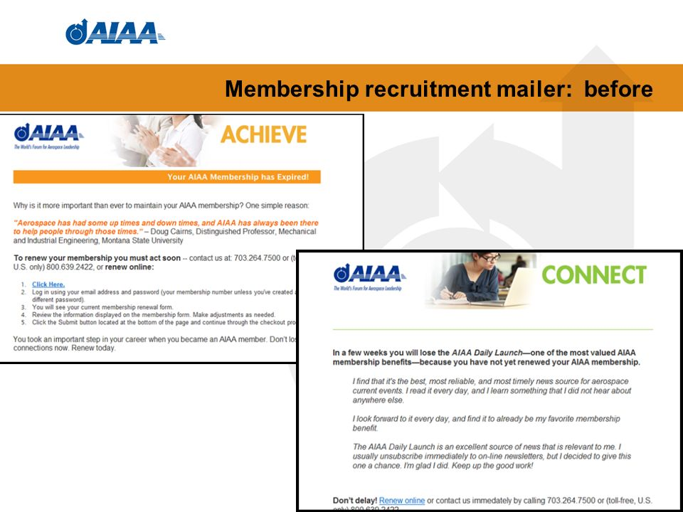 Membership recruitment mailer: before