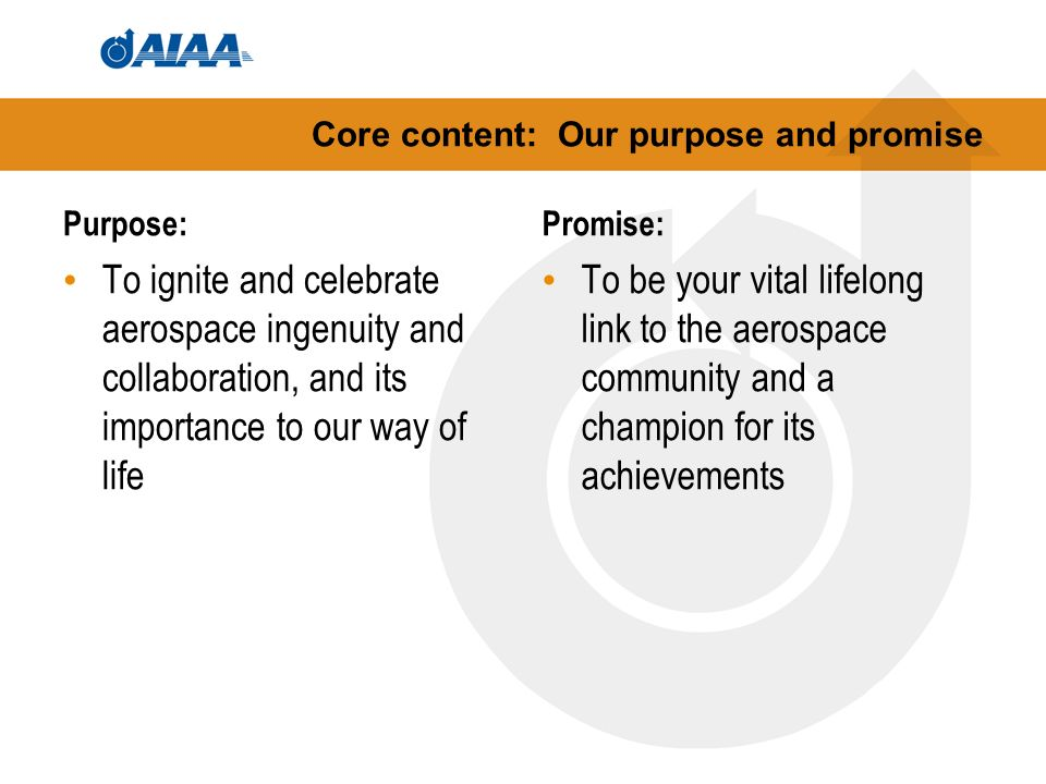 Core content: Our purpose and promise Purpose: To ignite and celebrate aerospace ingenuity and collaboration, and its importance to our way of life Promise: To be your vital lifelong link to the aerospace community and a champion for its achievements