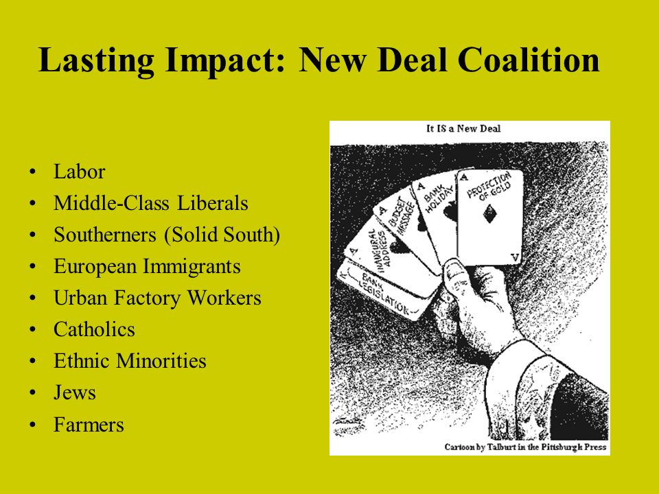 Lasting Impact: New Deal Coalition Labor Middle-Class Liberals Southerners (Solid South) European Immigrants Urban Factory Workers Catholics Ethnic Minorities Jews Farmers