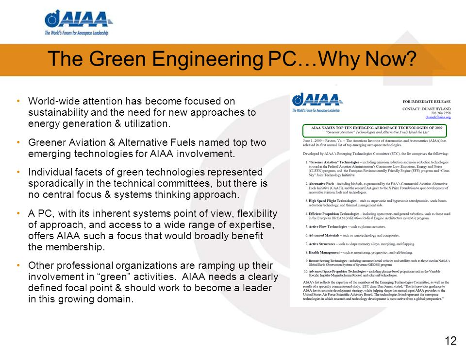 12 The Green Engineering PC…Why Now.