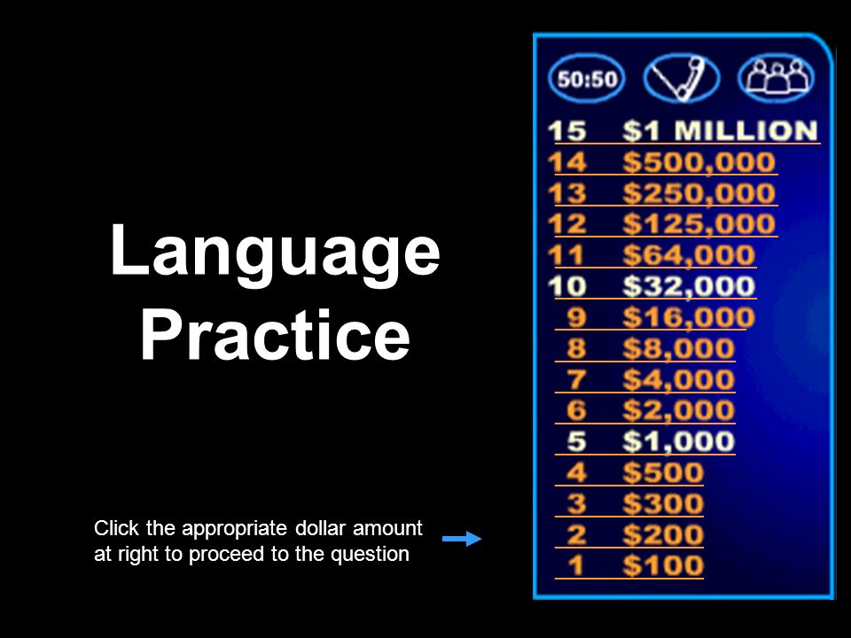 Template by Bill Arcuri, WCSD Who Wants to Be a Millionaire