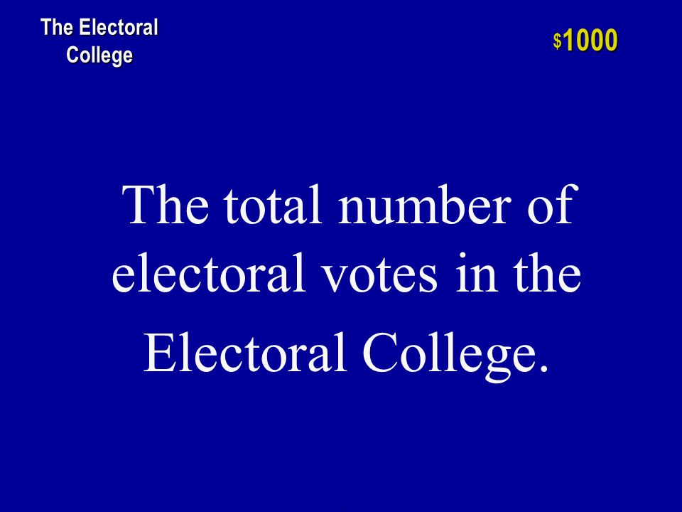 h $ 800 The Electoral College The Amendment that gave D.C.