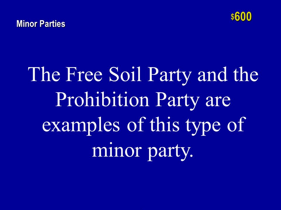 h $ 400 Minor Parties Started in 1854, this is the only minor party ever to achieve major party status.
