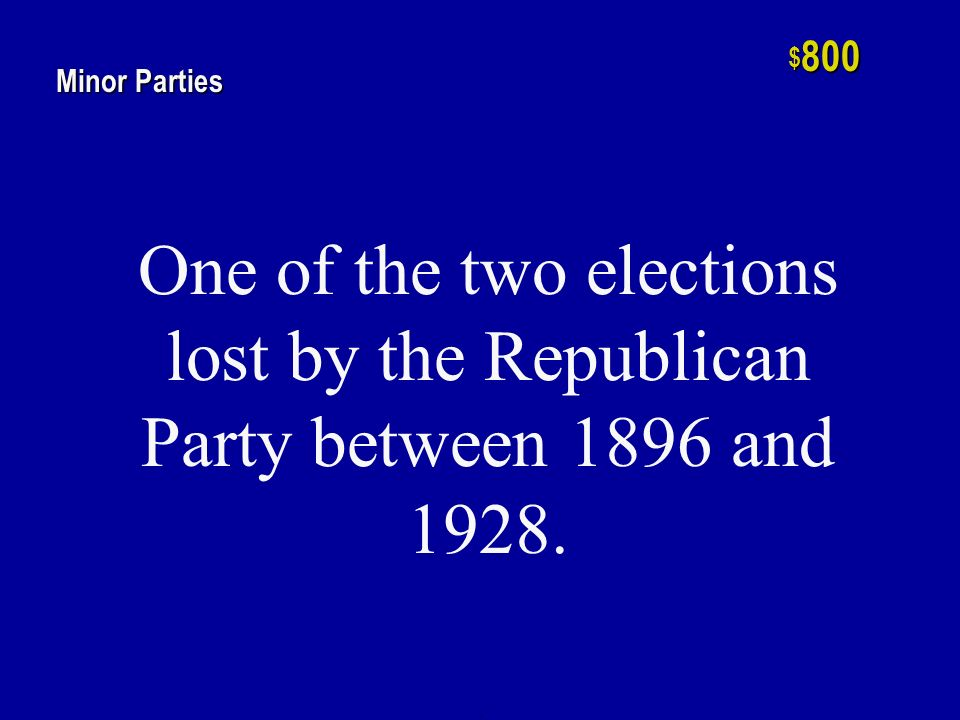 h $ 600 Minor Parties The Free Soil Party and the Prohibition Party are examples of this type of minor party.