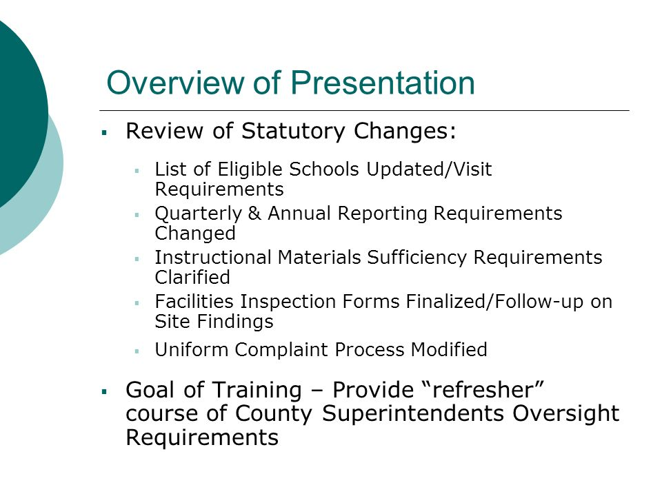 Overview of Presentation Review of Statutory Changes: List of Eligible Schools Updated/Visit Requirements Quarterly & Annual Reporting Requirements Changed Instructional Materials Sufficiency Requirements Clarified Facilities Inspection Forms Finalized/Follow-up on Site Findings Uniform Complaint Process Modified Goal of Training – Provide refresher course of County Superintendents Oversight Requirements