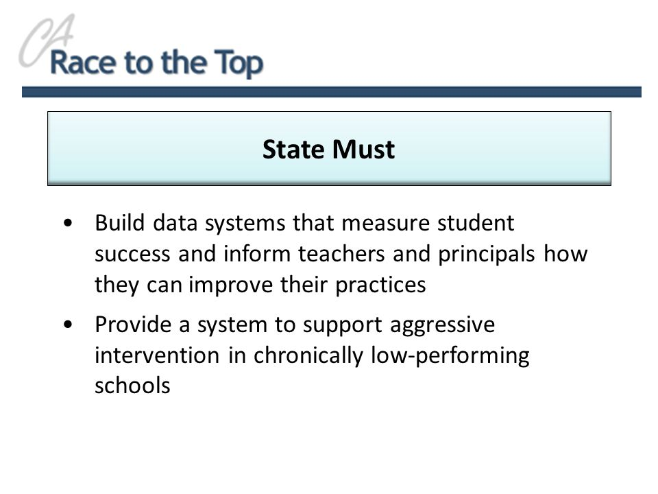 Build data systems that measure student success and inform teachers and principals how they can improve their practices Provide a system to support aggressive intervention in chronically low-performing schools State Must