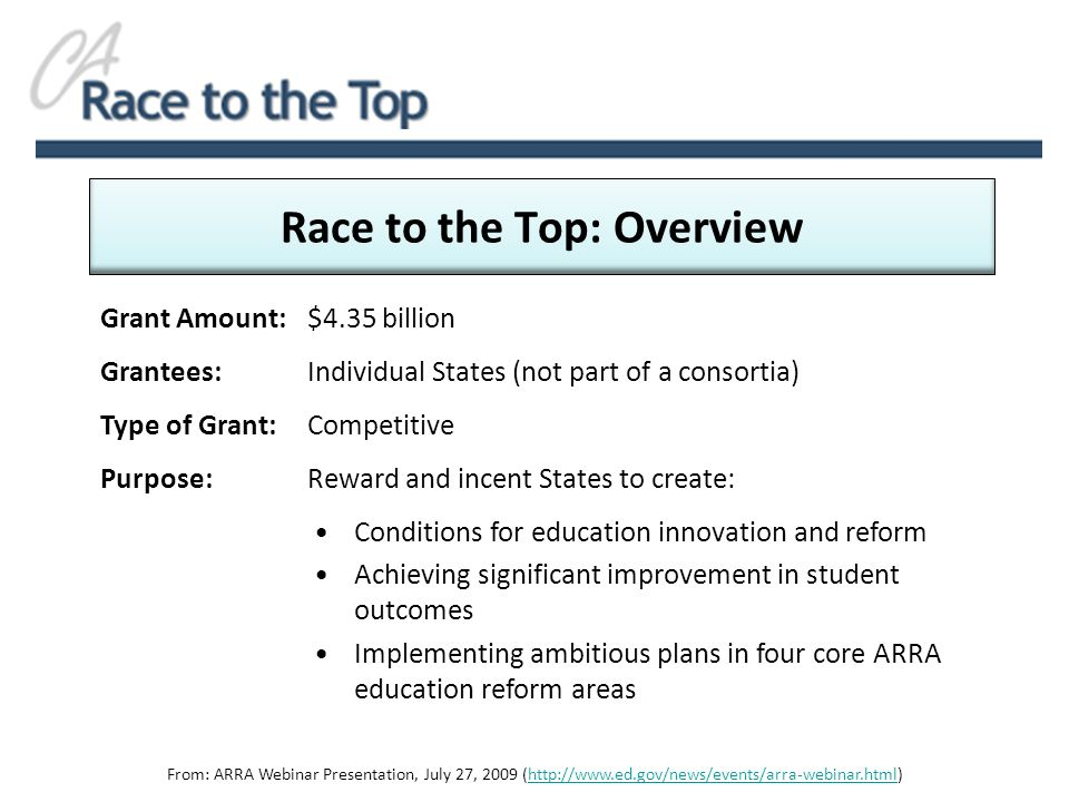 Grant Amount: $4.35 billion Grantees:Individual States (not part of a consortia) Type of Grant: Competitive Purpose: Reward and incent States to create: Race to the Top: Overview Conditions for education innovation and reform Achieving significant improvement in student outcomes Implementing ambitious plans in four core ARRA education reform areas From: ARRA Webinar Presentation, July 27, 2009 (http://www.ed.gov/news/events/arra-webinar.html)http://www.ed.gov/news/events/arra-webinar.html