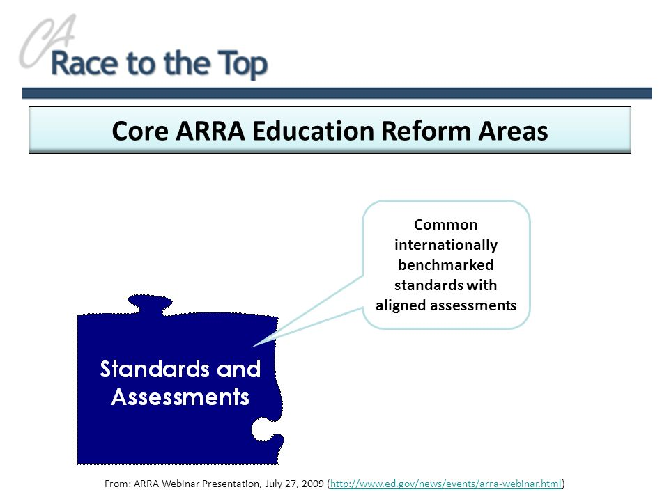 Core ARRA Education Reform Areas From: ARRA Webinar Presentation, July 27, 2009 (http://www.ed.gov/news/events/arra-webinar.html)http://www.ed.gov/news/events/arra-webinar.html Common internationally benchmarked standards with aligned assessments