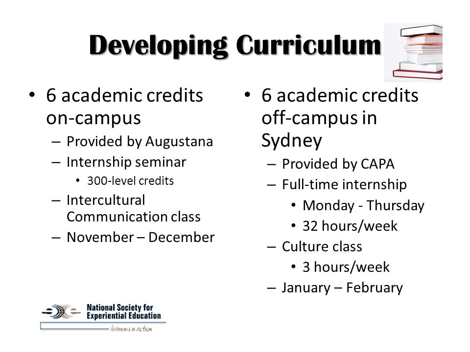 Developing Curriculum 6 academic credits off-campus in Sydney – Provided by CAPA – Full-time internship Monday - Thursday 32 hours/week – Culture class 3 hours/week – January – February 6 academic credits on-campus – Provided by Augustana – Internship seminar 300-level credits – Intercultural Communication class – November – December