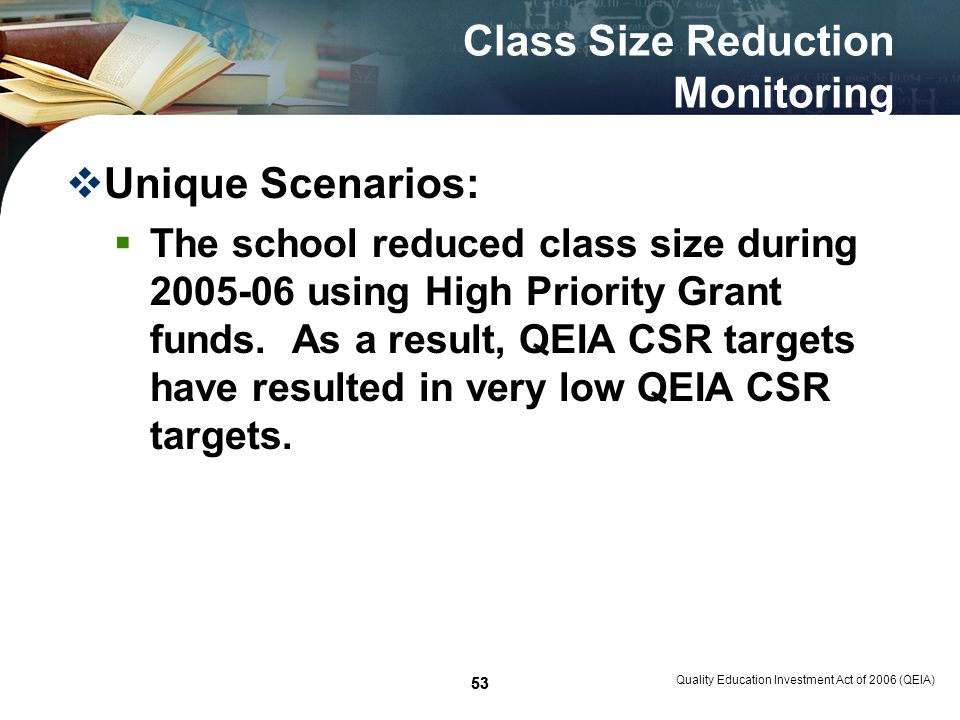 53 Class Size Reduction Monitoring Unique Scenarios: The school reduced class size during 2005-06 using High Priority Grant funds.