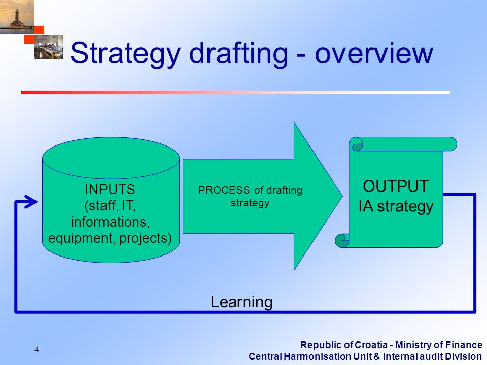 Republic of Croatia - Ministry of Finance Central Harmonisation Unit & Internal audit Division Strategy drafting - overview 4 PROCESS of drafting strategy OUTPUT IA strategy Learning INPUTS (staff, IT, informations, equipment, projects)