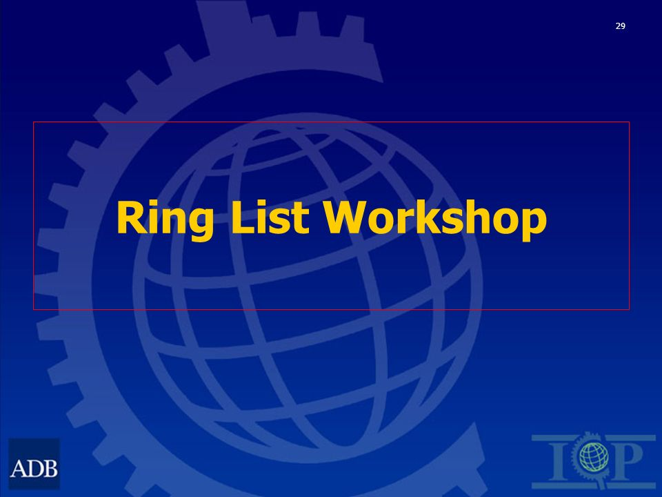 29 Ring List Workshop