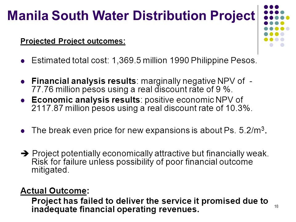 17 Basic Facts: The Metropolitan Waterworks and Sewerage System (MWSS), had identified south Manila as the region with the greatest need for increased access to potable piped water in the Philippines.