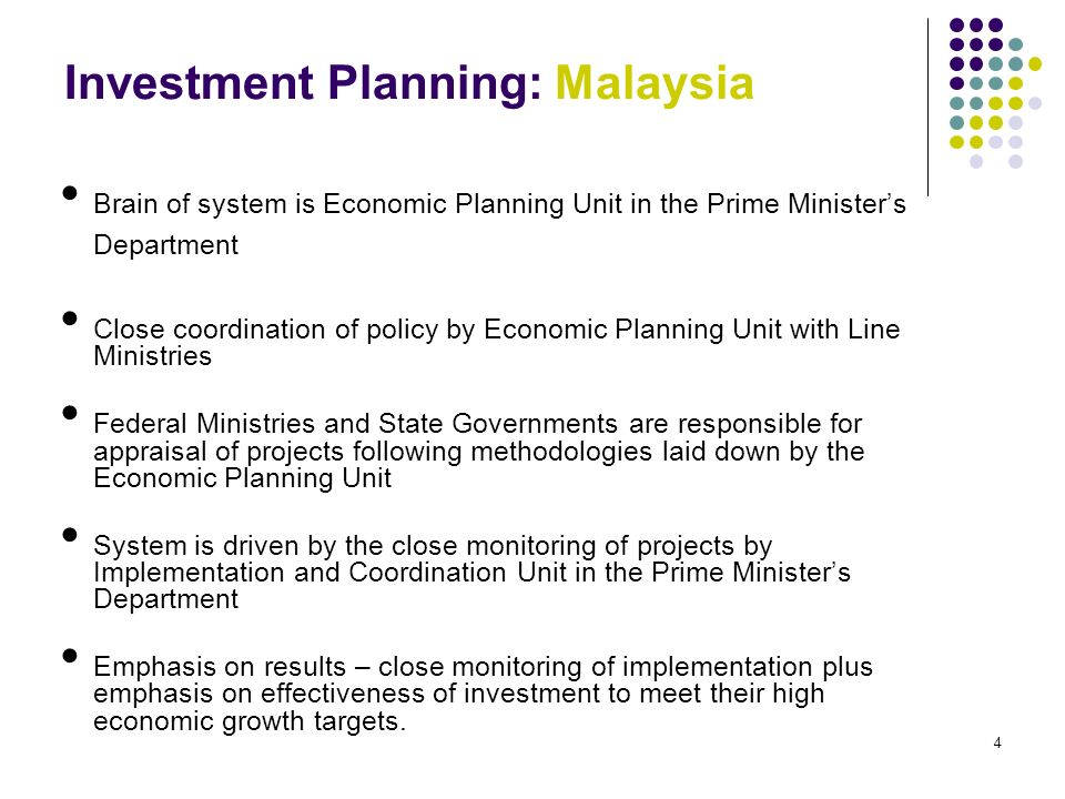 3 Components of a Good Public Investment Program Strategic Direction of Policy Coordination between central policy ministries and the line ministries Investment selection and approval Monitoring of implementation and assessment of policy results