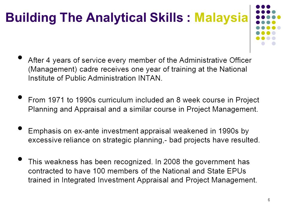 5 Malaysia Development Planning Machinery Cabinet of Ministers National Planning Council (NPC) National Development Planning Committee (NDPC) Economic Planning Unit (EPU) Inter Agency Planning Group (IAPG) National Action Council Implementation and Coordination Unit Federal Ministries and Agencies State Government Draft Policy DraftGeneral Framework Circulars Proposals Secretariat