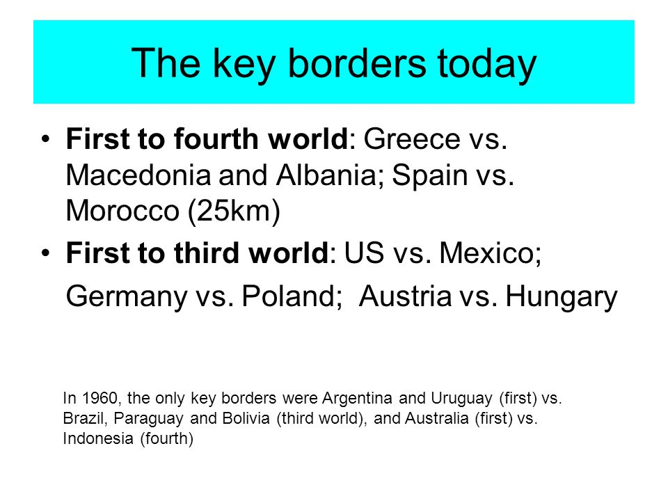 The key borders today First to fourth world: Greece vs.