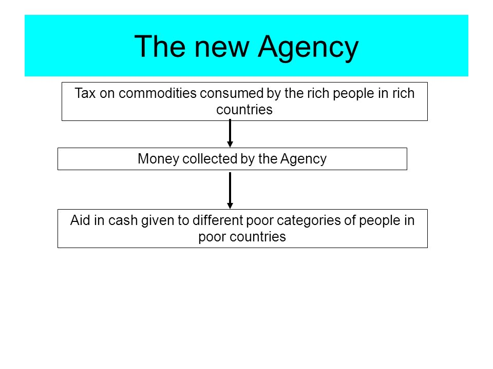 The new Agency Tax on commodities consumed by the rich people in rich countries Money collected by the Agency Aid in cash given to different poor categories of people in poor countries