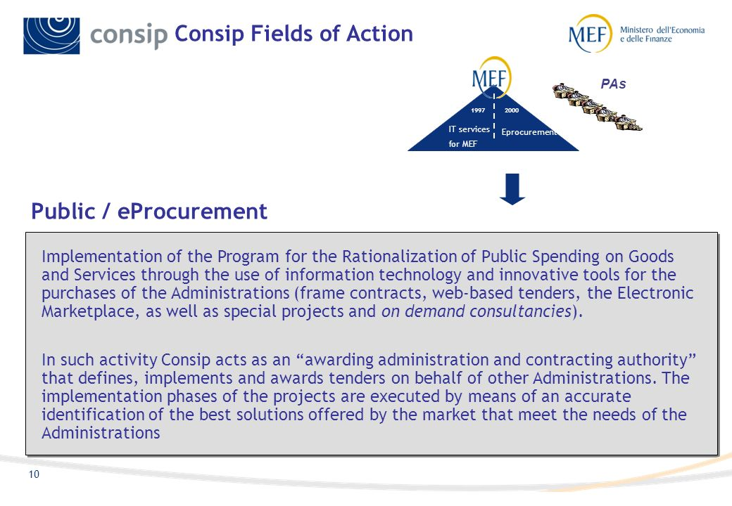 9 Consip is a public stock company, created in 1997 by the Ministry of Economy and Finance (MEF), its sole stockholder.