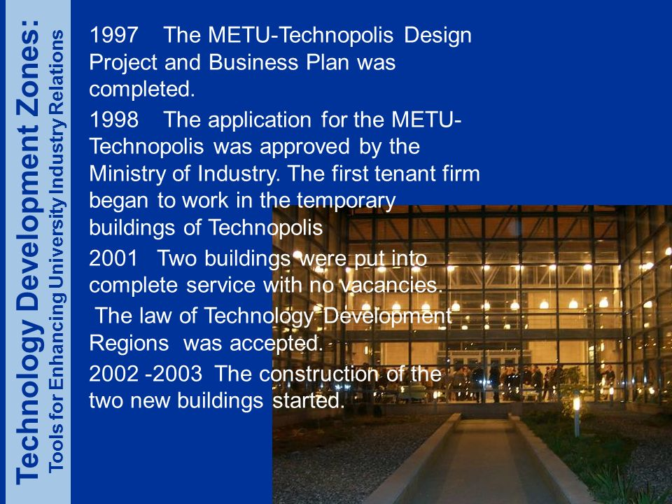 1997 The METU-Technopolis Design Project and Business Plan was completed.
