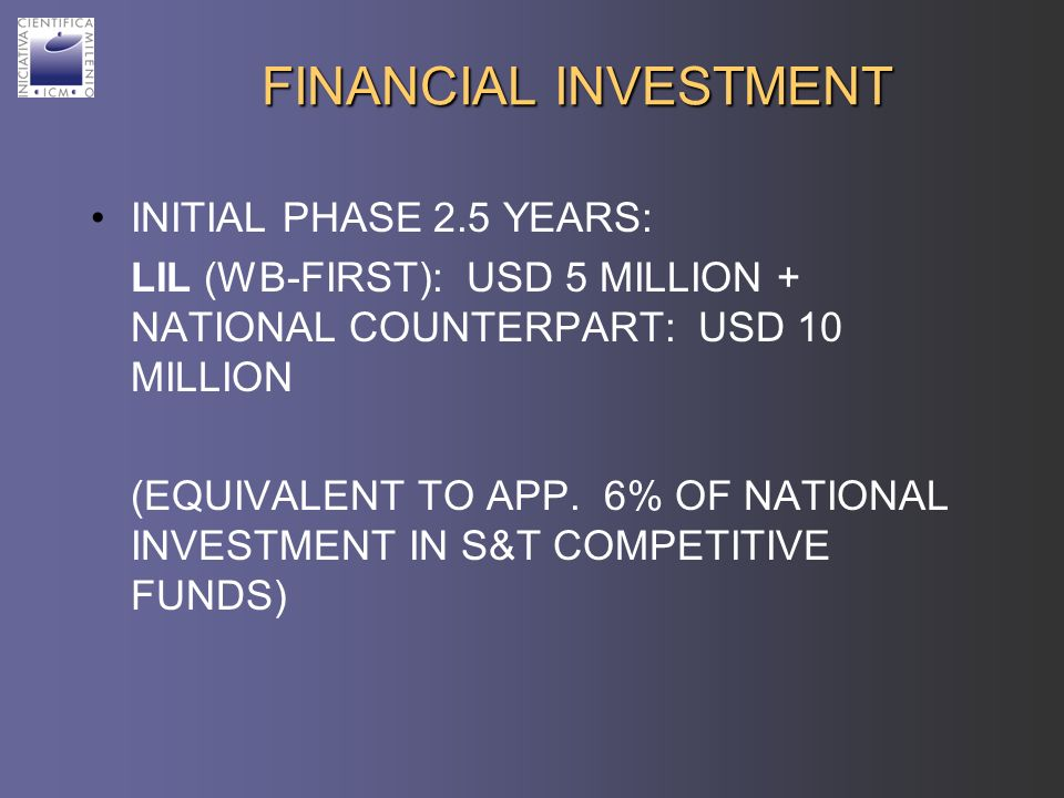 FINANCIAL INVESTMENT INITIAL PHASE 2.5 YEARS: LIL (WB-FIRST): USD 5 MILLION + NATIONAL COUNTERPART: USD 10 MILLION (EQUIVALENT TO APP.